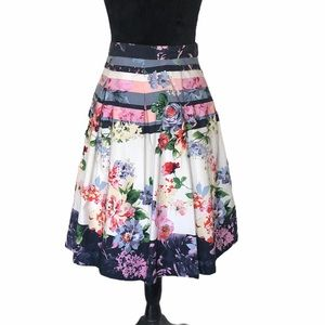 Mario Serrani floral pleated Aline cotton skirt